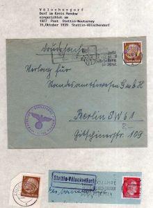 v109 aus Stettin Sammlung Landpoststempel Stettin Völschendorf Drucksache 1938