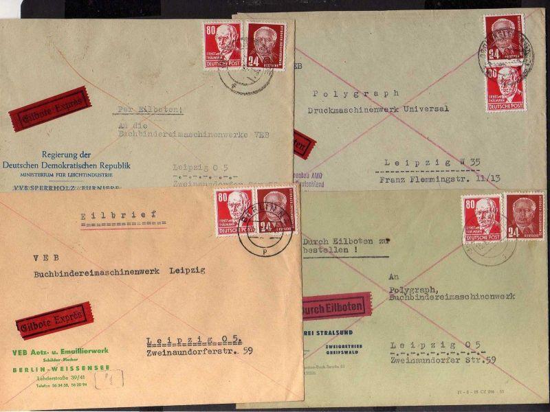 B1280 DDR Köpfe II 1953 4x Eilboten Brief Berlin Weissensee Tangermünde Oschersl