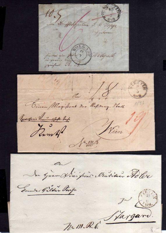 V044 aus Stettin Sammlung 3 Briefe 1843 n. Wolgast Stargard Wien