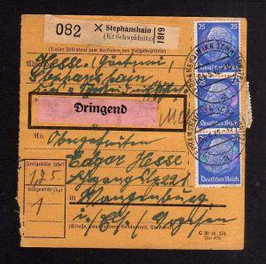 v151 Paketkarte 7x DR 522 MeF 1942 Stephanshain Kr. Schweidnitz Dringend Aufkleb