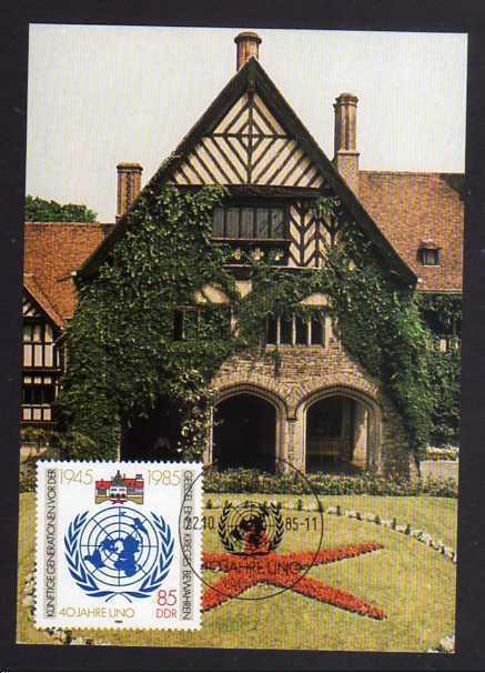 B153 DDR 2982 Maximumkarte 40 Jahre Vereinte Nationen UNO 1985