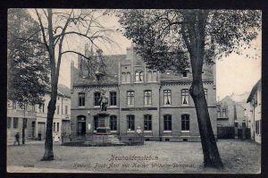 Ansichtskarte Neuhaldensleben Kaiserliches Postamt Kaiser Wilhelm Denkmal 1915