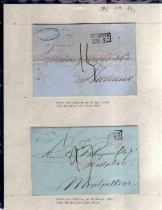 v054 aus Stettin Sammlung 2 Briefe 1849 nach Bordeaux Montpellier