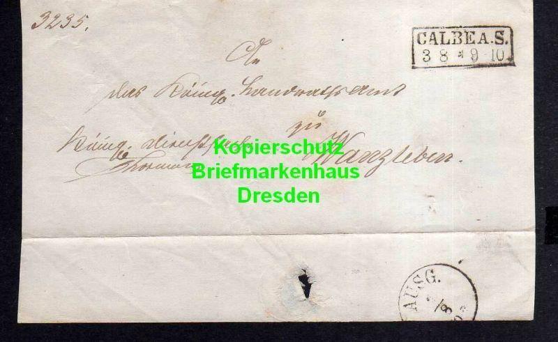 V842 Calbe a. S. um 1860 Faltbriefvorderseite nach Wanzleben Königl. Dienstsache