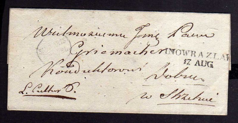 v033 aus Stettin Sammlung Brief um 1830 Colera Desinfektionslöcher Inowrazlaw