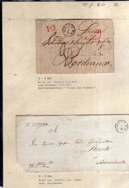 v040 aus Stettin Sammlung 4 Briefe 1832 - 1848 nach Bordeaux Prusse Par Forbach