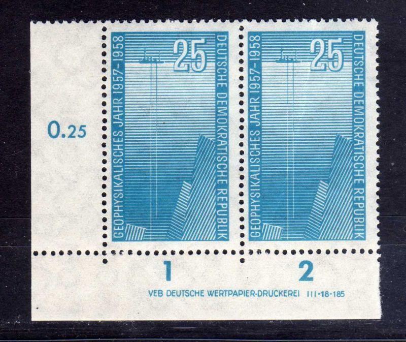 DDR 1958 617 DV Druckvermerk ** 25 Pfg. unten ndgz. Schiff mit Echolot Tiefs