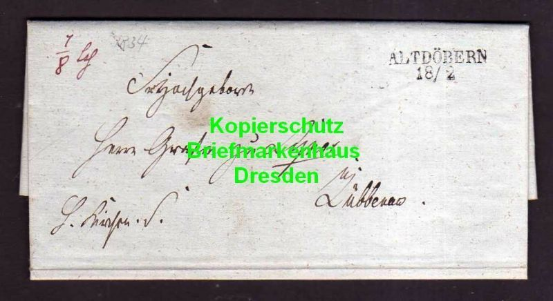 V841 Atdöbern 1834 Faltbrief mit Inhalt nach Lübben