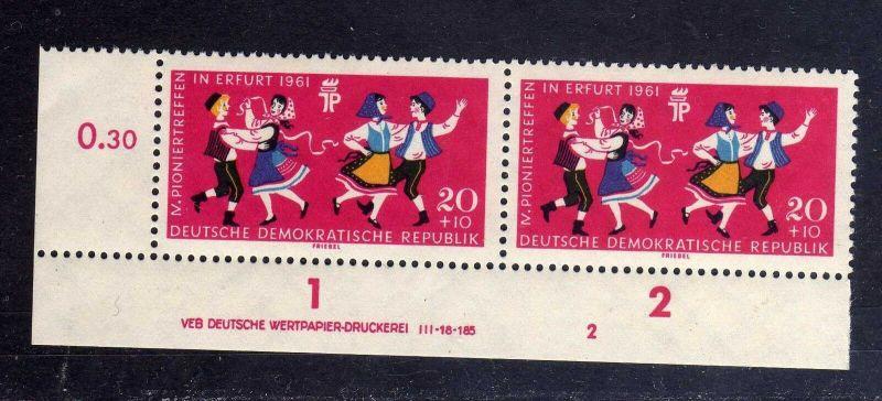 DDR 1961 828 DV Druckvermerk ** Formnummer 2 Pioniertreffen Erfurt