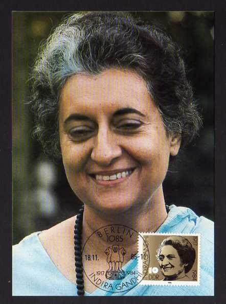 B162 DDR 3056 Maximumkarte 1986 69. Geburtstag von Indira Gandhi
