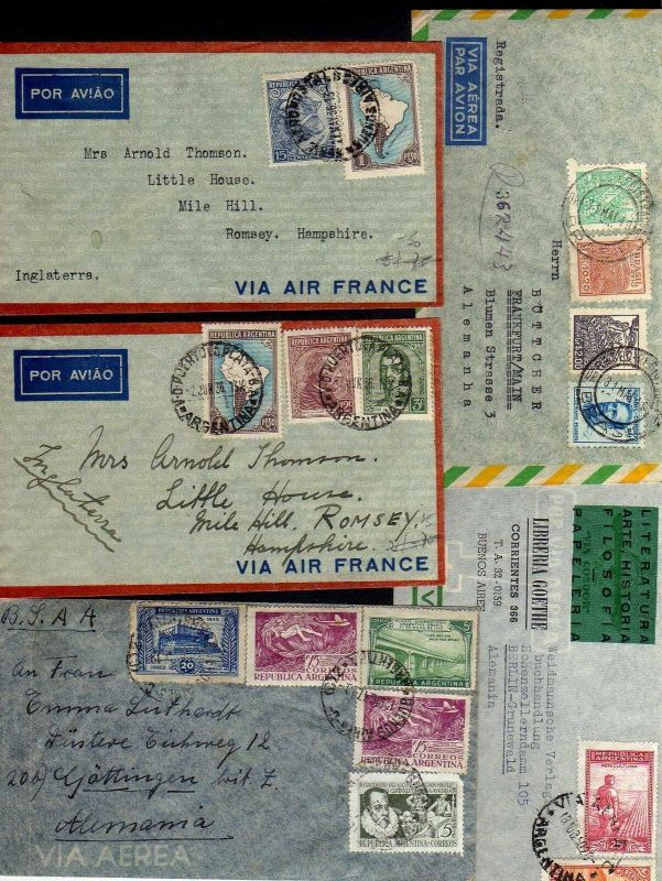 B1204 16x Brief Argentinien Luftpost 1923 - 1950 schöner Vordruck Uhren Wecker