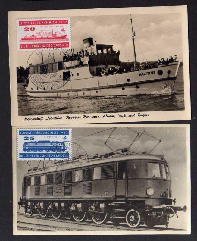 B147 DDR 559 560 seltene Maximumkarten Leipziger Frühjahrsmesse 1957 Motorfracht