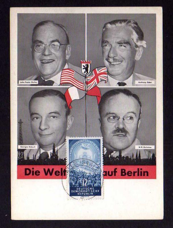 B134 DDR 424 seltene Maximumkarte Viermächtekonferenz Berlin John Forster Dulles