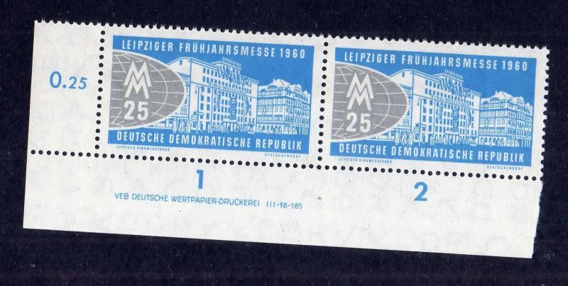 DDR 1960 751 DV Druckvermerk ** Variante c Leipziger Frühjahrsmesse