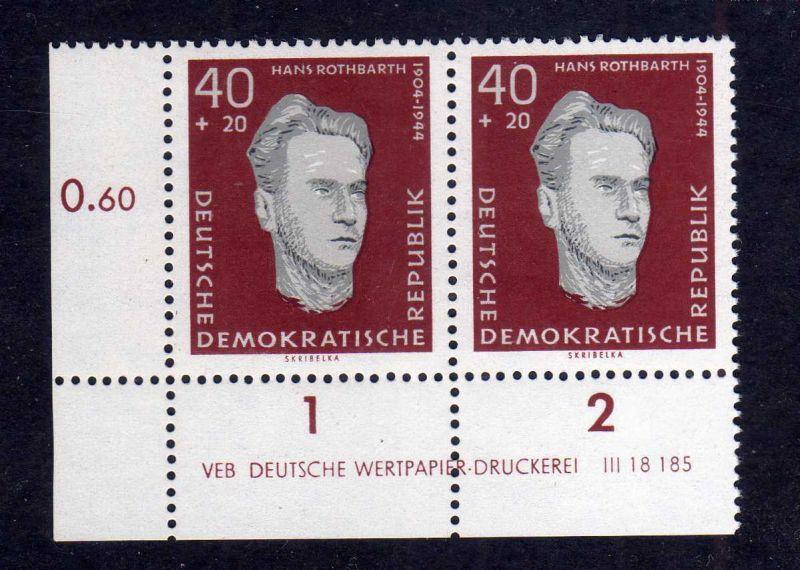 DDR 1960 756 DV Druckvermerk ** Variante a Sachsenhausen Hans Rothbarth