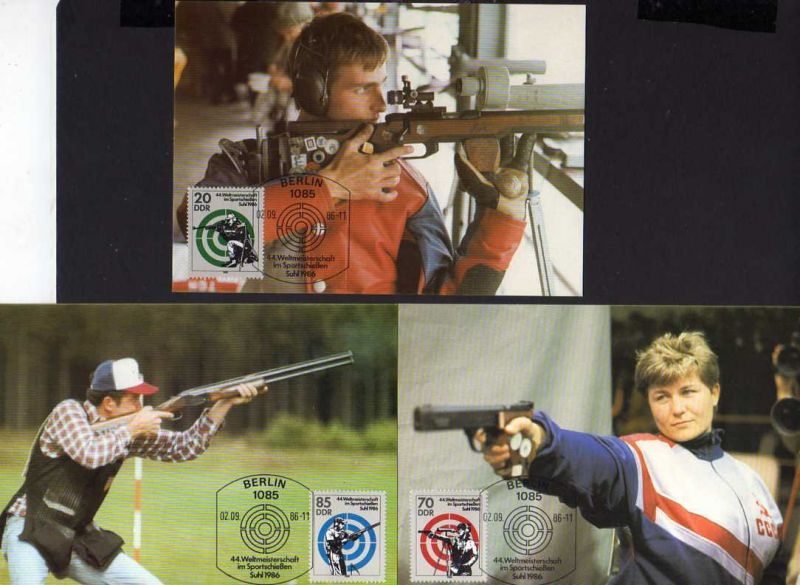 B164 DDR 3045 - 3047 3 Maximumkarten 1986 Weltmeisterschaften im Sportschießen S