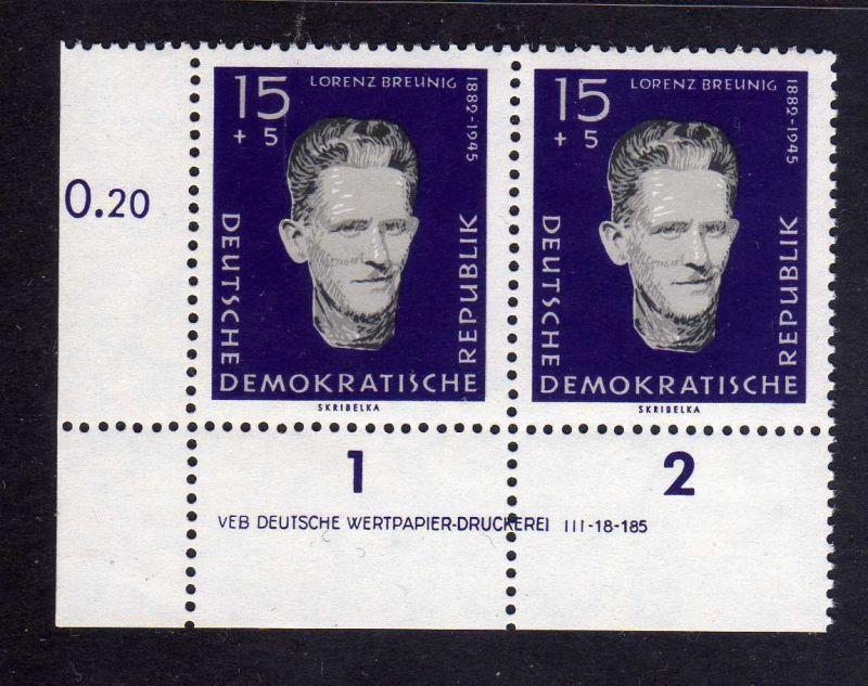 DDR 1960 766 DV Druckvermerk ** Variante a Lorenz Breunig Gedenkstätte Sachs