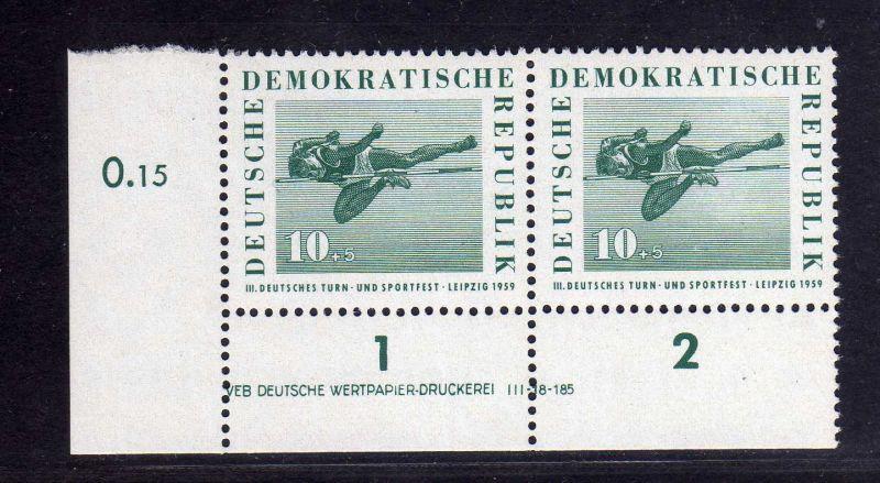 DDR 1959 708 DV Druckvermerk ** links ndgz. Deutsches Turn- und Sportfest Le