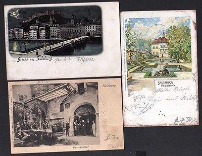 3 Ansichtskarte Salzburg Heilbrunn 1900 Peterskeller 1903