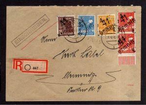 h1979 Handstempel Bezirk 41 Chemnitz Brief Einschreiben 26.6.48 mit 15, 25 Pfenn