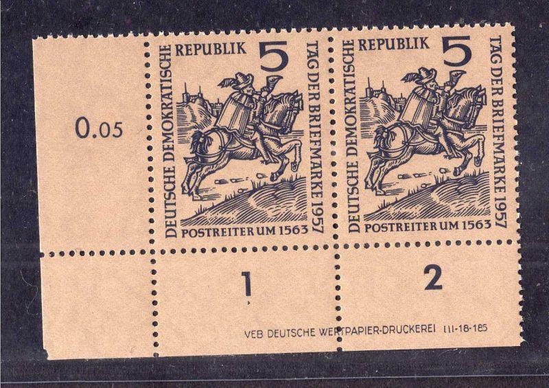 DDR 1957 600 DV Druckvermerk ** 5 Pfg. Tag der Briefmarke