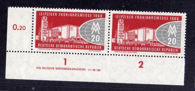 DDR 1960 750 DV Druckvermerk ** Variante c Leipziger Frühjahrsmesse