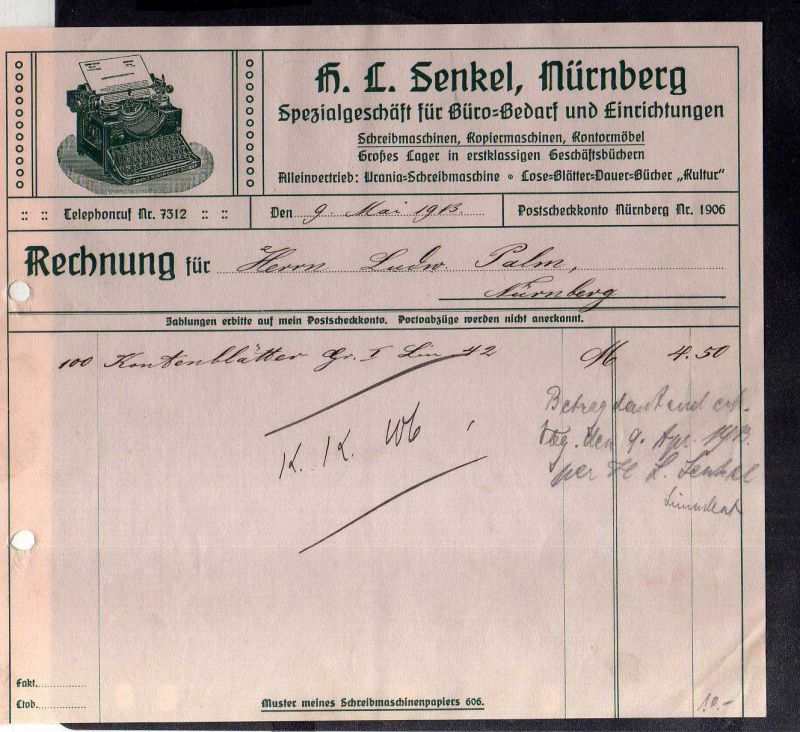v579 Briefbogen Firmenrechnung Nürnberg Büro Bedarf Senkel 1913