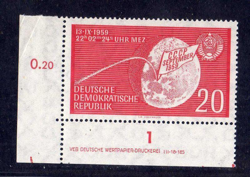 DDR 1959 721 DV Druckvermerk ** links ndgz. b/1 Landung Lunik 2 auf dem Mond