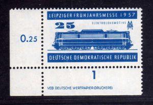 DDR 560 DV Druckvermerk ** 25 Pfg. Leipziger Frühjahrsmesse 1957 UR durchgez