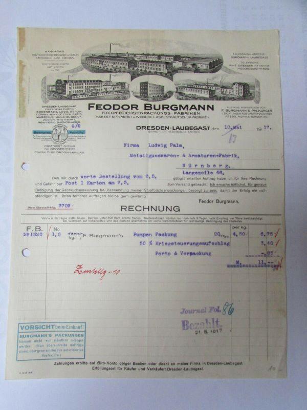 v547 Briefbogen Firmenrechnung Dresden Laubegast Stopfbüchsenpackungs Fabriken S