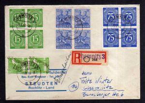 h1984 Handstempel Bezirk 41 Chemnitz 25 25.6.48 Einschreiben Brief MiF Zehnfach