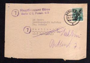 h1902 Handstempel Bezirk 3 Berlin 25 Briefteil 3.7.48 Hauptfinanzamt Börse