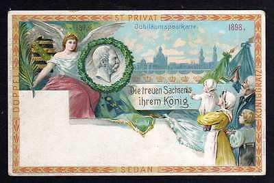 Ansichtskarte Dresden Wettinfeier Sachsen König 1898 Privatganzsache PP 9 E2/018 Düpp