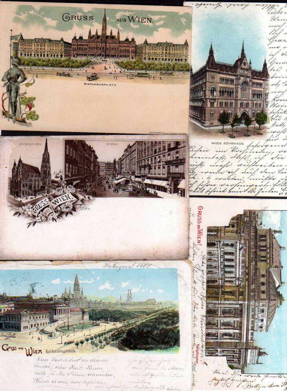 5 Ansichtskarte Wien Litho 1900 Sühnhaus Rathausplatz Reichsrathsgebäude