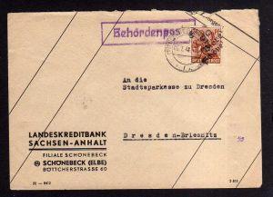 h869 Brief Handstempel Bezirk 29 Biere Schönebeck 6.7.48 Landeskreditbank Sachse