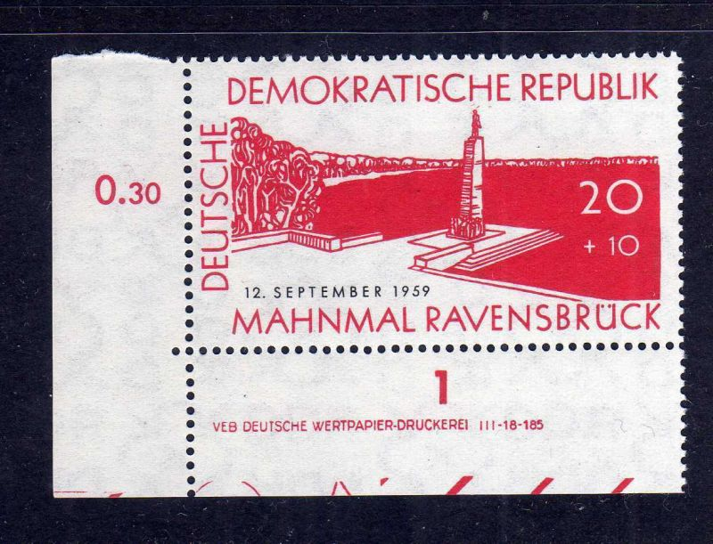 DDR 1959 720 DV Druckvermerk ** links ndgz. b/1 Ravensbrück