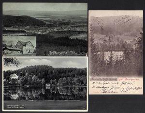 3 Ansichtskarte Bad Georgenthal Gasthaus Thüringer Wald 1923 See Teich Villa 1900