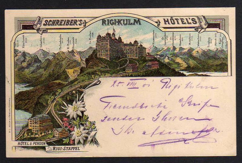 Ansichtskarte Rigi-Kulm Litho Schreibers Hotel Pension Rigi Staffel 1901