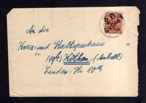 h1819 Handstempel Bezirk 20 Dessau 28.6.48 nach Köthen Brief Notumschlag aus alt