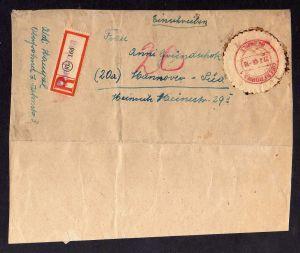 h2283 Währungsreform 1948 Oberfrohna Bezirk 41 EInschreiben Briefteil aus Überfo
