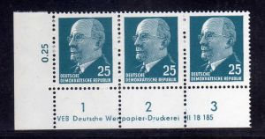 DDR 1963 934 X x I DV Druckvermerk ** Dauerserie 25 Pfg. Walter Ulbricht