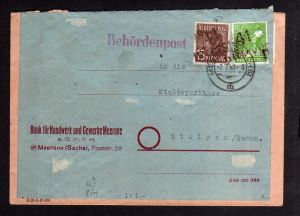 h395 Handstempel Bezirk 41 Meerane 2.7.48 10 und 15 Pfg. Behördenpost Bank für H