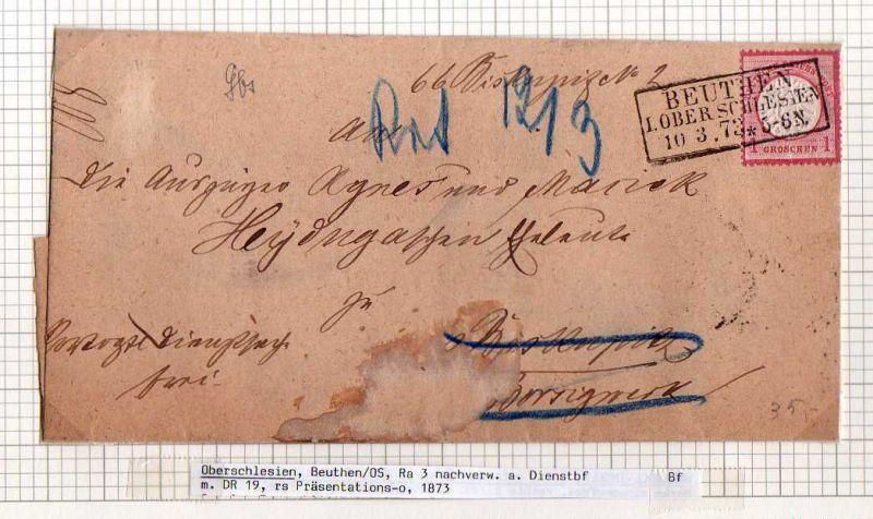 Brief Brustschild Beuthen Oberschlesien 1873