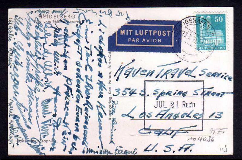 Ansichtskarte Heidelberg BAZ 92 EF Luftpost USA Los Angeles 1951
