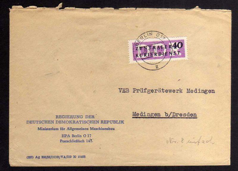 B2230 DDR ZKD 8 Brief Berlin O17 Regierung der DDR Ministerium