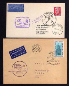 Karte Brief DDR 1963 Erstflug IL18 Berlin Prag Leipzig Messesonderflug Wi