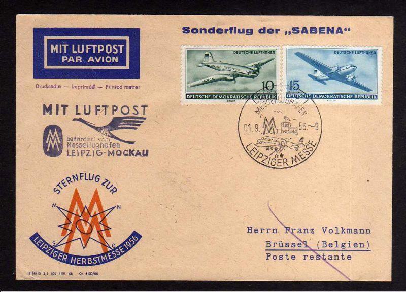 Brief Sternflug zur Leipziger Herbstmesse 1956 Luftpost Sabena Mockau na