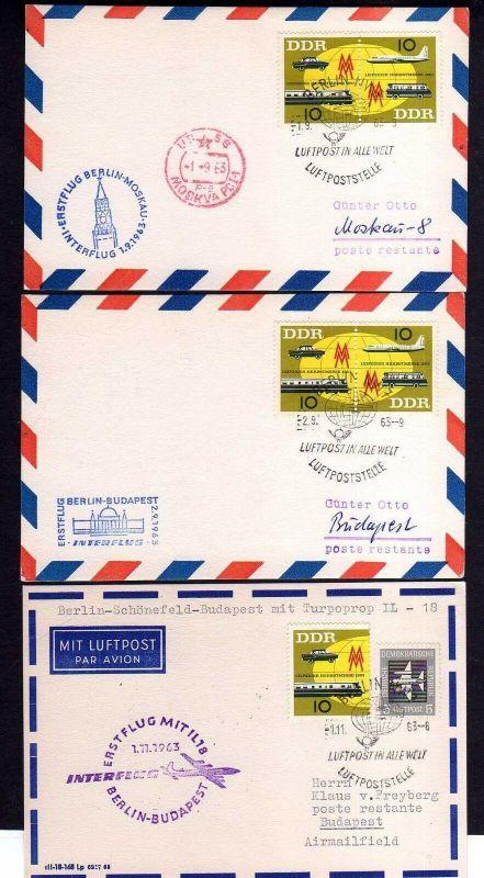 3x DDR Erstflug Berlin Moskau Berlin Budapest 1963 3 verschiedene Bestäti