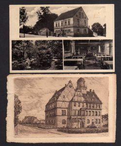 2 Ansichtskarte Zwenkau bei Leipzig Harthschlösschen Gasthaus 1942 Rathaus 1930 Orig