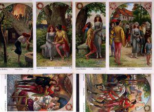 6 Ansichtskarte Ludwig Bechstein 1928 Siebenschön Serie Künstlerkarte O. Herrfurth